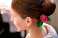 C E Bespoke Wedding beautiful bride with rose in hair
